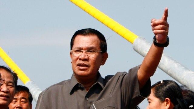 FILE - Cambodian Prime Minister Hun Sen, delivering a speech in Phnom Penh in January.