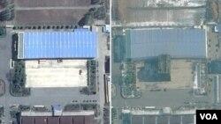북한 평안남도 평성 소재 '3월16일 공장'을 지난해 4월 촬영한 '구글어스/DigitalGlobe' 제공 위성사진(왼쪽)과 지난해 11월 21일 촬영한 'TerraServer/DigitalGlobe' 제공 위성사진. ICBM 조립건물로 추정되는 시설이 새로 세워진 것을 알 수 있다.