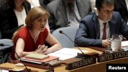 지난 10일 미국 뉴욕 유엔 본부에서 열린 안보리 회의에서 사만다 파워 유엔 주재 미국 대사가 북한 인권 문제에 대해 발언하고 있다. (자료사진)