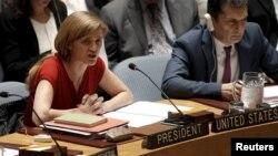사만다 파워 유엔주재 미국 대사가 지난달 10일 뉴욕 유엔 본부에서 열린 안전보장이사회 회의에서 북한 인권 상황을 논의하고 있다.