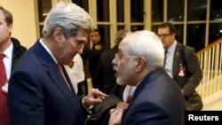 Sakataren Harkokin Wajen Amurka, John Kerry Da Takwaransa Na Iran, Javad Zarif