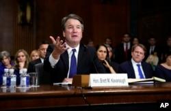 Supreme Court nominee Brett Kavanaugh testifies before the Senate Judiciary Committee on Capitol Hill in Washington, Sept. 27, 2018.