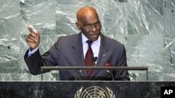 塞内加尔总统瓦德在纽约联合国总部第66届联大上发言(2011年9月21号资料照)