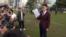 """被高等法院法官裁决选举呈请失利的""""香港民族党""""的召集人陈浩天星期二下午在添马公园与媒体见面"""