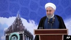 Presiden Iran Hassan Rouhani di Pardis Technology Park, kawasan barat Teheran, Iran, 5 November 2019.