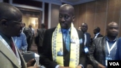 FILE: Deputy Finance Terrence Mukupe speaking with potential investors in South Africa.