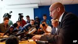 Geir Lippestad, lawyer of Norwegian Anders Behring Breivik, the man accused of a killing spree and bomb attack in Norway, delivers a statement and answers questions in Oslo, July 26, 2011.