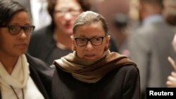 FILE - U.S. Supreme Court Associate Justice Ruth Bader Ginsburg arrives to watch U.S. President Barack Obama's State of the Union address to a joint session of Congress in Washington, Jan. 12, 2016.