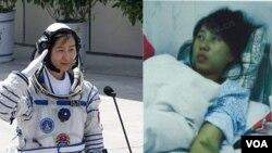中国第一位进入太空的女航天员刘洋(左), 陕西省镇平县孕妇冯建梅(右)