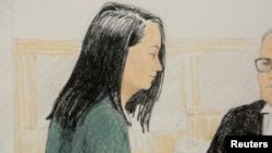 Tranh vẽ bà Mạnh Vãn Chu xuất hiện ở tòa Vancouver hôm 10/12/2018.