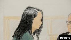 法庭素描显示华为首席财务官孟晚舟2018年12月10日在温哥华出庭。法官11日宣布允许她交保获释。