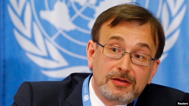 Yurii Klymenko, Ukraine's ambassador to the United Nations, attends a news conference on the situation in Ukraine at the United Nations in Geneva, April 15, 2014.