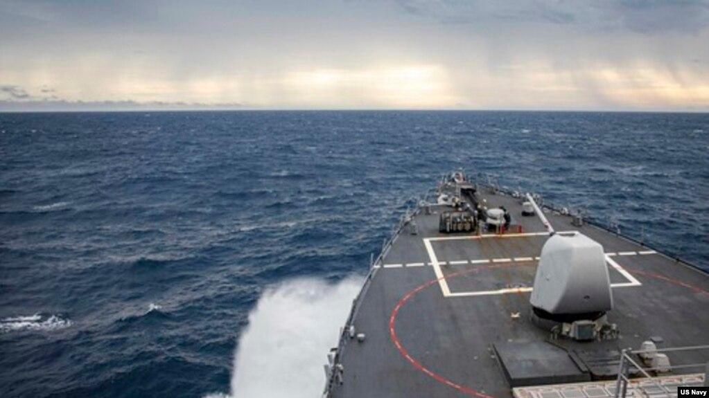USS John S. McCain thực thi tự do hải hành tại Trường Sa, tháng 12, 2020. Hình minh họa.