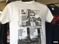 Roe Michel's Haitian Heroes t-shirt features the heroes of the Haitian war for independence in Little Haiti, Miami, Florida. (Photo: S. Lemaire / VOA)