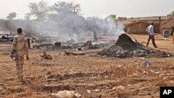 Bentiu, Soudan du Sud, après un raid de l'aviation soudanaise, le 14 avril 2012.