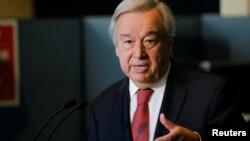 El secretario general de la ONU, Antonio Guterres, habla con los periodistas en Nueva York, el 18 de junio de 2021.