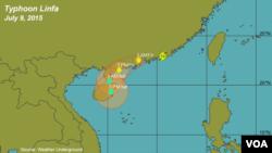 Bão Linfa trên bản đồ dự báo thời tiết ngày 9 tháng 7 năm 2015.