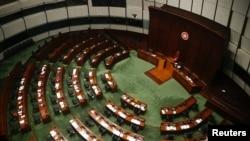 香港立法会四名民主派议员被取消资格后的立法会大厅。(2020年11月11日)