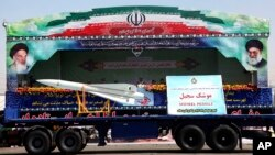 Sedjeel, an Iranian made ballistic missile, is showcased during an annual military parade in Tehran, Iran, Sept, 22, 2013.
