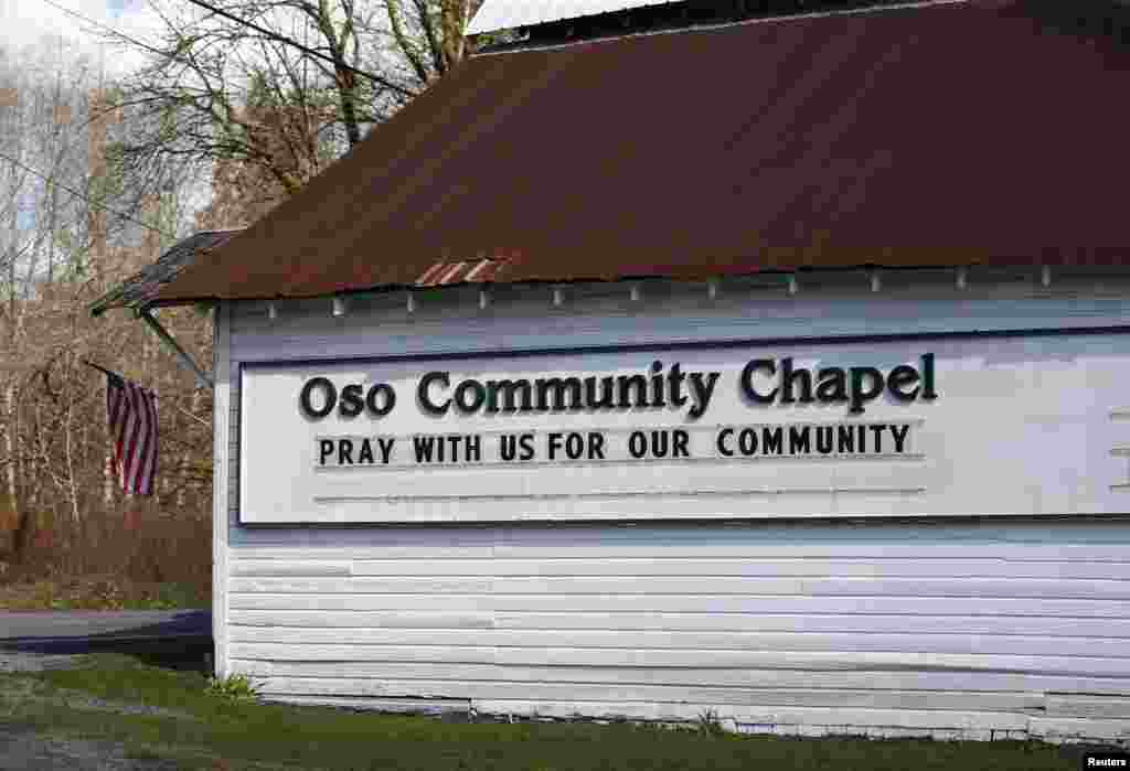 The Oso Community Chapel is pictured near the area where a landslide blocks Highway 530 near Oso, Washington, March 23, 2014.