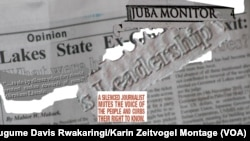 A montage of an issue of the Juba Monitor newspaper that was seized last year for criticizing an official, with an an excerpt from the UN Plan for the Safety of Journalists. Four print runs of the Juba Monitor have been seized since South Sudan erupted in violence in December.