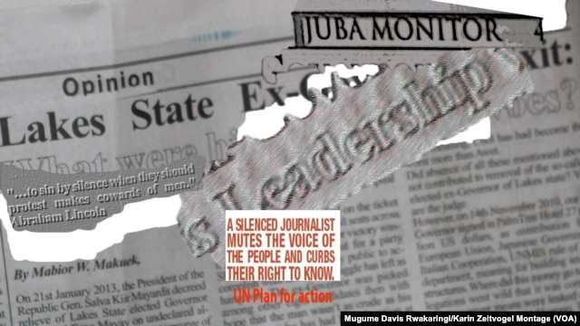 A montage of the Juba Monitor newspaper and an excerpt from the UN Plan for the Safety of Journalists. The Juba Monitor has had four print runs seized since South Sudan erupted in violence in December 2013.