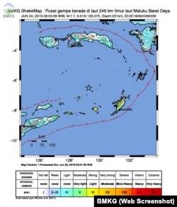 Peta gempa bumi Maluku dan sekitarnya. (Foto: BMKG Website)