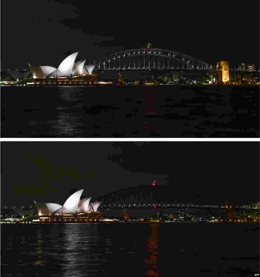 The Sydney Harbour Bridge is seen plunged into darkness for the Earth Hour environmental campaign, among the first landmarks around the world to dim their lights for the event. Lights will go out in some 7,000 cities and towns from New York to New Zealand for Earth Hour which this year aims to raise hundreds of thousands of dollars for green projects.