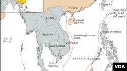 Bản đồ lưỡi bò do Trung Quốc vẽ, giành chủ quyền hầu hết Biển Đông.