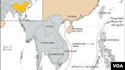 Bản đồ lưỡi bò do Trung Quốc vẽ, tuyên bố chủ quyền hầu hết toàn bộ Biển Ðông.