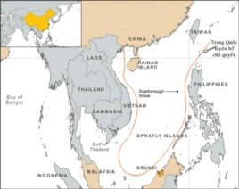 Bản đồ đường lưỡi bò do Trung Quốc vẽ, giành chủ quyền hầu như toàn bộ lãnh hải ở Biển Đông.