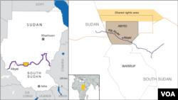 Map of Abyei, including Kiir River