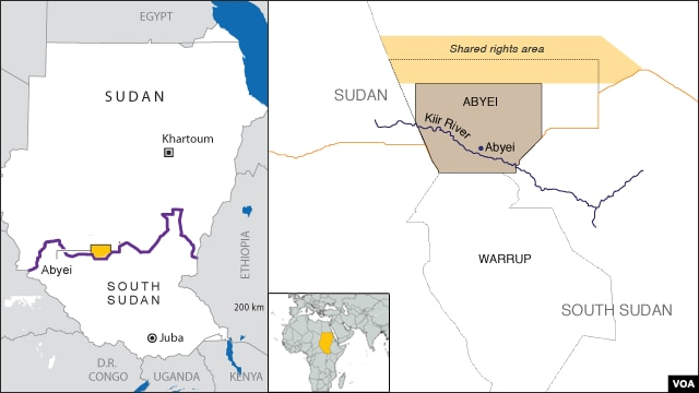 A map of Abyei, where fighting this week claimed five lives, including that of a toddler.