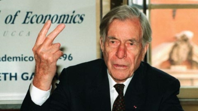 American economist John Kenneth Galbraith's most famous book was about the increasing division between rich and poor in modern industrial societies.