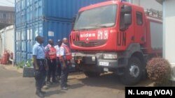 The fire security unit of the U.N. stabilization mission, MONUSCO, is shown with its fire truck in Goma, Democratic Republic of Congo, Sept. 2, 2016.
