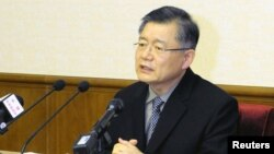"FILE - Lim Hyeon-soo speaks during a news conference in Pyongyang, North Korea. The Canadian pastor is freed from prison on ""sick bail"" after a Canadian delegation traveled to Pyongyang on his behalf, according to the official Korean Central News Agency."