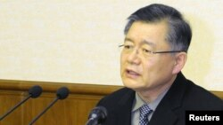 FILE - Lim Hyeon-soo speaks during a news conference at the People's Palace of Culture in Pyongyang, in this undated photo released by North Korea's Korean Central News Agency on July 30, 2015.