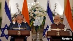 بھارت اور اسرائیل کے وزرائے اعظم ملاقات کے بعد مشترکہ نیوز کانفرنس کر رہے ہیں