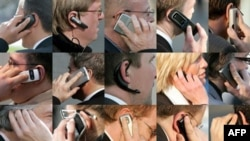 A combo photo of file photos shows people using their cell phones.