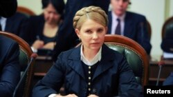Ukrainian politician and presidential candidate Yulia Tymoshenko takes part in talks in Kyiv, May 14, 2014.