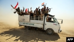 Combattants du Hachd al-Chaabi dans le nord de l'Irak, le 22 septembre 2017.
