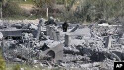 غزہ میں حماس کی ایک تنصیب اسرائیلی حملے میں تباہ