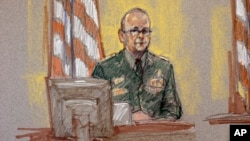 In this courtroom sketch, Staff Sgt. Patrick Ziggler, who was injured in the Fort Hood shootings, appears on the witness stand in a courtroom sketch during the sentencing phase in the trial for Maj. Nidal Hasan, Aug. 26, 2013, in Fort Hood, Texas.