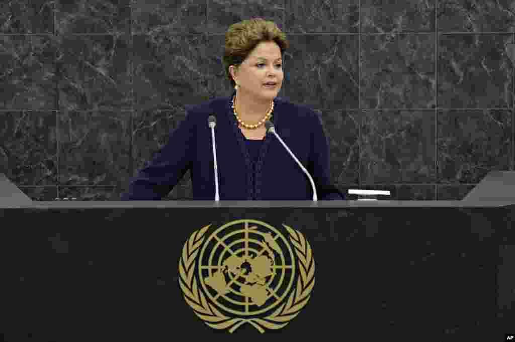 La presidenta de Brasil, Dilma Rousseff condena el espionaje por parte de EE.UU. durante su discurso ante la Asamblea General de la ONU, el martes 24 de septiembre.