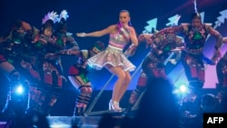 """US singer Katy Perry performs during """"Prismatic World tour"""" at the Arena Monterrey in Monterrey, Nuevo Leon State, Mexico, Oct. 14, 2014."""
