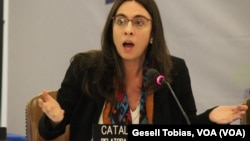 Catalina Botero, Relatora especial de Libertad de Expresión, durante la sesión sobre la libertad de expresión en Venezuela, durante audiencias de la Comisión Interamericana de Derechos Humanos.