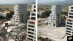 2005 کے زلزلے میں اسلام آباد کے مرگلہ ٹاورز کی عمارت زمین بوس ہو گئی تھی۔ (فائل فوٹو)