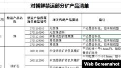 中國星期二公佈了一份對朝鮮的禁運礦產清單(部分)(網站截圖)