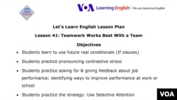 Let's Learn English Lesson Plan Lesson 41: Teamwork Works Best With a Team