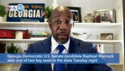 VOA60 America - Georgia Democratic Senate candidate Raphael Warnock won one of two key seats in the state